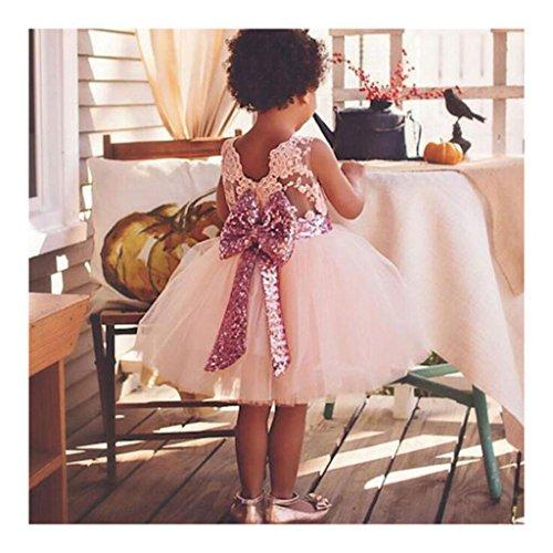 Highdas 2017 Mädchen Bowknot Spitze Prinzessin Rock Sommer Sequins Kleider für Baby Kleinkinder Kinder 0-5 Jahre Old Pink / 0-1Jahre