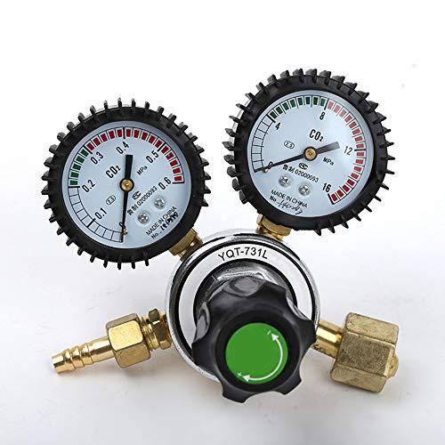 TAYDMEO Herramienta Reductor de CO2 Gas de garrafa del regulador de presión de aleación de Zinc Material de Carbono Dióxido de Soldadura a presión con Twin Indicador de presión