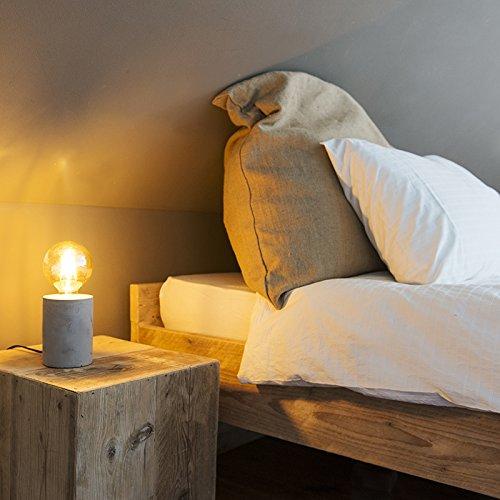 QAZQA Moderno Lámpara de mesa moderna gris - BLOQUE Piedra/cemento Cilíndra Adecuado para LED Max. 1 x 40 Watt