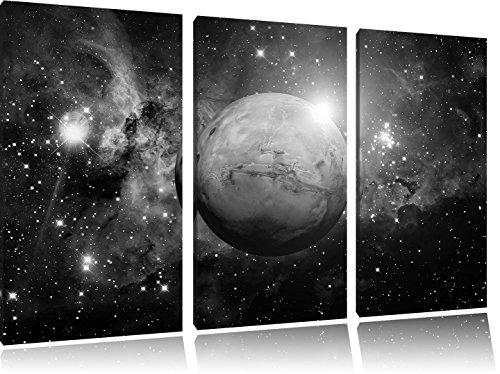 Pixxprint Planet Mars im Universum / 3-Teilig/Gesamtmaß 120cm Leinwandbild bespannt auf Holzrahmen/Wandbild Kunstdruck Dekoration