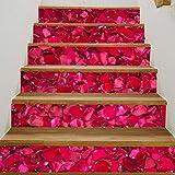 KONGWSM Escalera De Bricolaje Autoadhesivo Etiqueta Tridimensional Trece Pasos Post Pétalo De Rosa Día De San Valentín Inicio Corredor Papel Pintado Decoración Pintura(100Cmx18Cmx13Pcs)