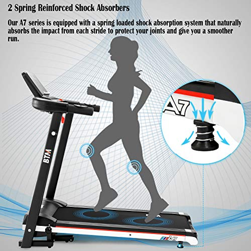 BTM A7 Motorised electric treadmill Folding Running machine 2019 Digital Control 2.0CHP Motor Up to 12.8KM/H 15 Programmes Walking Machine Portable Gym Equipment for Fitness Workout (1000 * 398)