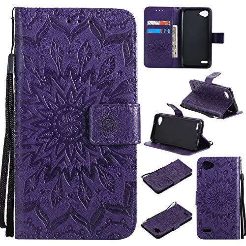 Artfeel Leder Brieftasche Hülle für LG Q6/LG G6 Mini/LG Q6 Plus mit Handschlaufe, Flip Magnetverschluss Lila Handyhülle Geprägt Sonnenblume Muster,Buchstil mit Kartenfächer Stand Schutzhülle