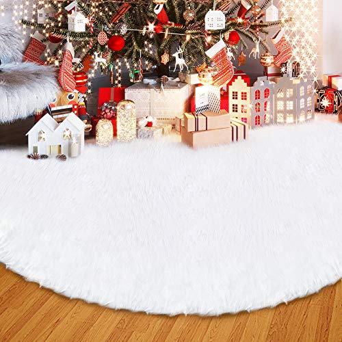 ANLAN 122CM Weißflocke Decke Weiche Snow weiß Weihnachtsbaum Rock Baumdecke, Baum Dekoration