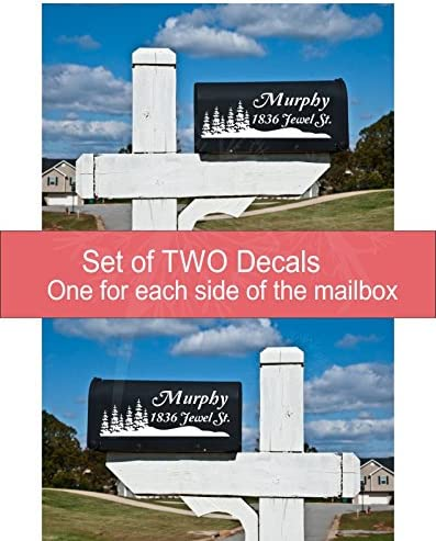Mailbox Decals with Forest lowest price online shopping Tree Set 2 of Silhouettes Personalize