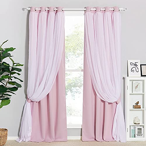 PONY DANCE Pink Curtains for Bedroom - Nursery Layered Curtains Sheer Blackout Draperies with Tie-Backs Windows Covering, 52 x 84 inches, Light Pink, 2 Panels