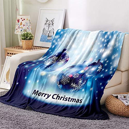 Chickwin Mantas Navidad, 3D Impresión Manta Franela Invierno Mantas para Cama Manta de Felpa Soft Cálidas y Ligeras Colcha Mantas de Sofá para Adultos y Niños (Copo de Nieve,160x200cm)