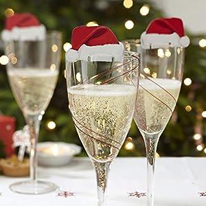 Lustige Weihnachtsdeko für Gläser / Weihnachtsmannmützen – Tischdekoration aus Karton x 10 – Party/Weihnachtsfeier – Weihnachtsfreude