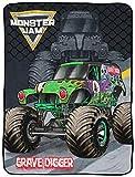 Monster Jam Slash Throw Blanket - Measures 46 x 60 inches, Kids Bedding Features Grave Digger - Fade Resistant Super Soft Fleece (Official Monster Jam Product)