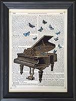 絵画 インテリア ピアノと蝶々 絵画 インテリア 壁掛け アート ポスター フック 海 ピカソ 額縁