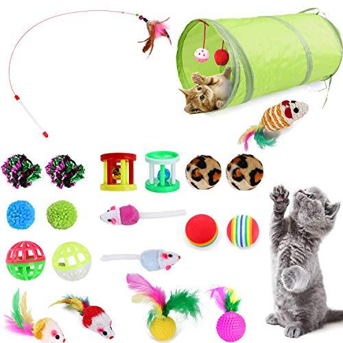 YATG Katzenspielzeug,Das 21PCS Interactive Kitten Toys-Set enthält einen 2-Wege-Tunnel, Katzenminzenspielzeug,einen Katzenfeder-Teaser-Stick, eine künstliche Maus,einen Faltenball, Verschiedene Bälle