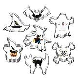 Ninevi Formine Biscotti Halloween Set, Set di 7 Acciaio Inox stampo per biscotti ,per Biscotti Frutta Torta Festa Halloween