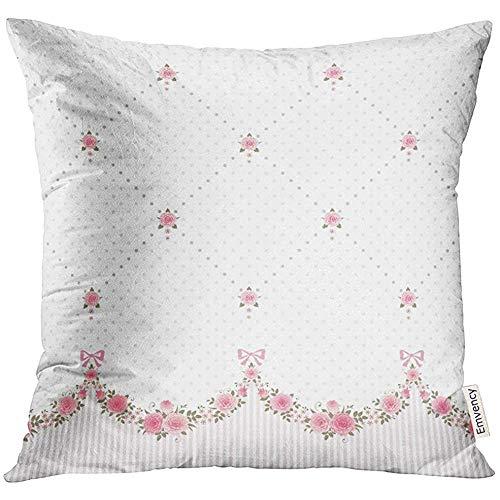 QDAS roze boeket horizontaal met slingers van rozen Polka Dot Rhombus Bloemen Border Arch decoratieve kussensloop kussensloop