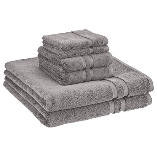 Amazon Basics GOTS Certified Organic Cotton Towel Set - 6-Piece Set, Stone Gray