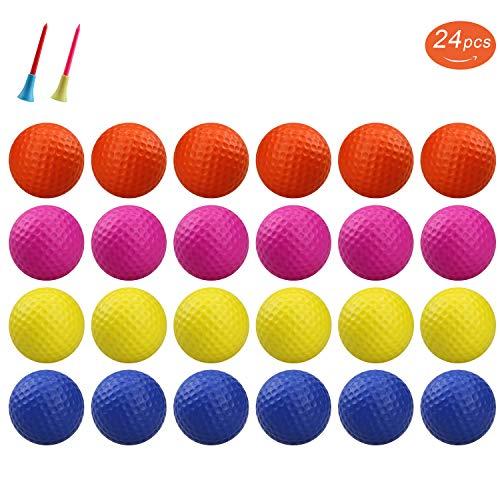 KOFULL Golfbälle zum Üben, Schaumstoff, weich, elastisch, für drinnen und draußen, 24 Stück (Gelb + Orange)