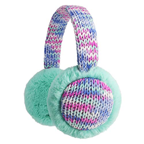 Flammi Kids Knit Earmuffs Winter Outdoor Furry Ear Warmers for Boys Girls (Aqua Green)