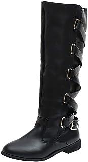 d625e11e987f Mysky Fashion Women Retro Buckle Roman Riding Knee High Cowboy Boots Ladies  Classic Outside Long Boots