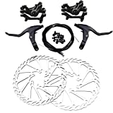 pushfocourag Accesorio para Bicicleta, L-1 Bicicleta MTB Delantera Trasera mecánica de Freno de Disco Rotor de Palanca de Cable Set, Hombre, Negro