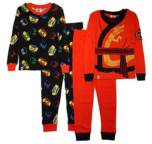 LEGO SGI Apparel Boys Ninjago 4-Pc Pajama, 2 Sets Sleeve (10, Red/Black)