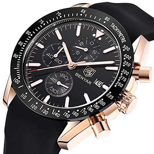 BENYAR moda uomo al quarzo cronografo impermeabile orologi business casual sport design Cinturino in silicone orologio