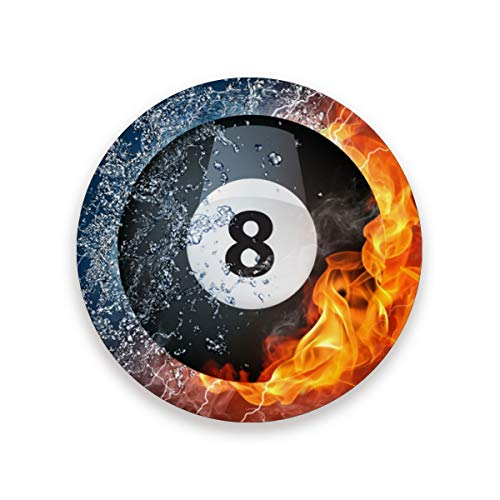 8 Ball Pool Best Round Coasters for Drink Absorbent Stone Multi Decorative Top with Cork Backings,Round Cup Mat Pad, Set of 1,2,4