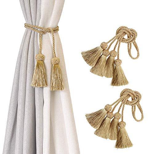 BEL AVENIR 4 Pack Curtain Handmade Tiebacks Decorative Curtain Holdbacks with Tassel- Gold