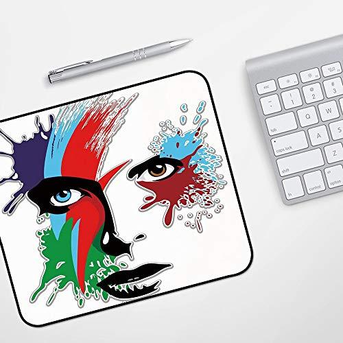 Gaming Mousepad Mauspad,David Bowie Dekor, Bowies Eyes Ziggy Stardust Ausdruck inspirierte Kunstwerk bunte Spritzer, Multicolor,Komfort Mousepad - verbessert Präzision und Geschwindigkeit