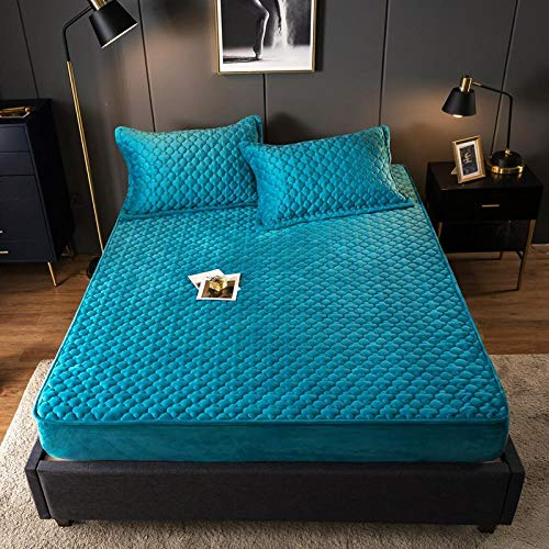 Claean-Acces-Home Bed Sheet Fitted Sheets Mattress Velvet Clip Cotton Bed Cover Bed Bed Sewn Bed Sewing Bed Can Be Machine Washed To Keep Warm Bed Cover-Peacock Blue_180*220Cm *Hat 30Cm