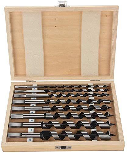 Brocas en espiral para madera, mango hexagonal en una caja de madera de carbono, 8 unidades
