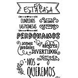 Enkolor/Vinilos Decorativos Frases Normas Casa/Pegatinas Pared/Negro/35X60cm. Extensión Garantía - Servicio Vinilo Repara Incluido