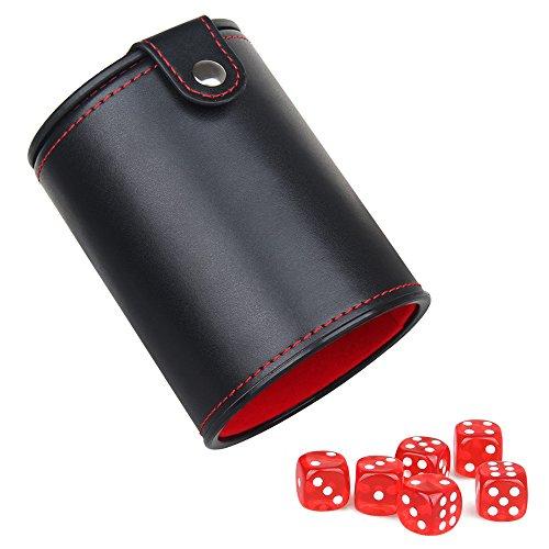 WOOWA Cuero Taza de Dados de Cuero con Caja de Almacenamiento de Dados Ocultos para la Mayoría del Juego de Dados, 6 Dados Rojos translúcidos incluidos (1 Paquete)