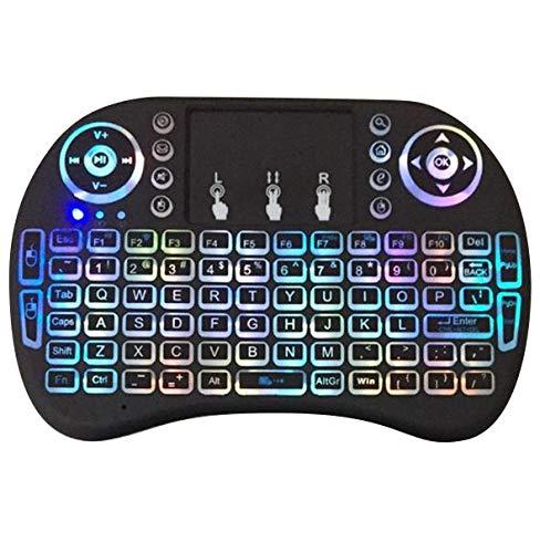 Mini teclado inalámbrico con retroiluminación de 7 colores RGB, batería recargable de iones de litio con panel táctil, se puede utilizar para Android TV Box, OTG, PC, PS3, Smart TV (2D/3D)
