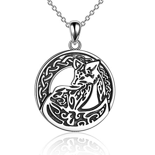 Fox Necklace Sterling Silver Celtic Ethnic Fox Pendant Necklace Vintage Fox Jewelry for Women