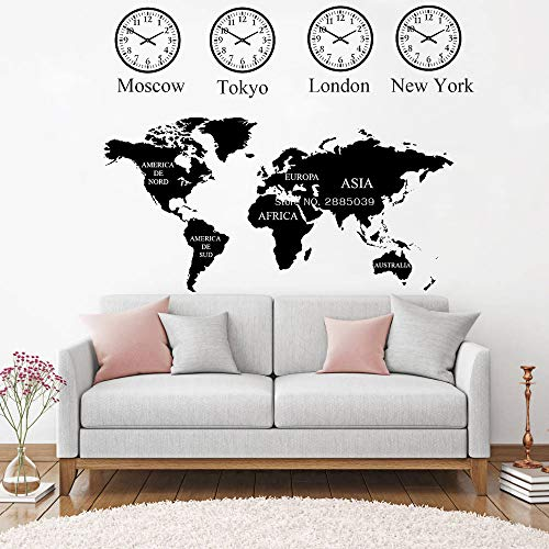 supmsds Moskau, Tokyo, London, York Uhr Weltkarte Wandtattoo Für Büro Wanddekor Wandbild Weltkarte Aufkleber Kunst Dekoration Lc XL 108 cm x 84 cm