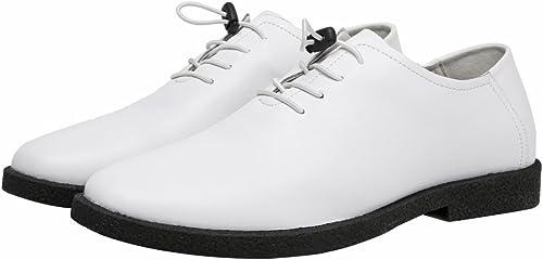 JIALUN-Schuhe Mode Herren Low top Schuhe Casual Matte aus echtem Leder Loafers schnüren atmungsaktiv gefütterte Oxfords (Farbe   Weiß, Größe   26CM)