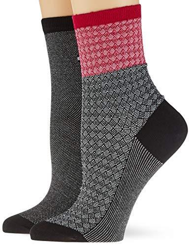 Tommy Hilfiger Womens TH Short 2P Refined Argyle Socks, Black/Rose Violet, 35/38 (2er Pack)