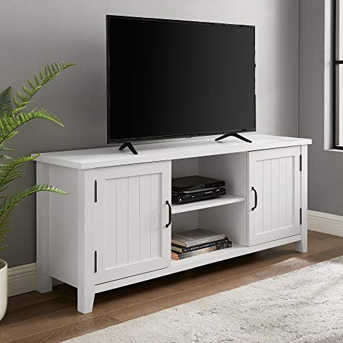 Walker Edison Modern Farmhouse Grooved Wood Stand with Cabinet Doors 65' Flat Screen Universal TV Console Living Room Storage Shelves Entertainment Center, 58 Inch, White
