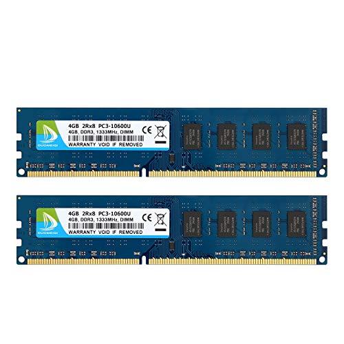 DUOMEIQI Kit de 8GB (2 X 4GB) DDR3 1333MHz DIMM PC3-10600 2R