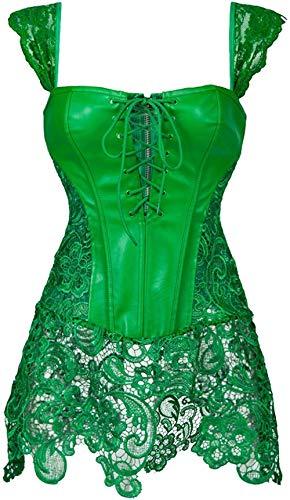 Yomjin Disfraz de Falda de cors de Cuero sinttico de cors Steampunk para mujer-3XL_Verde