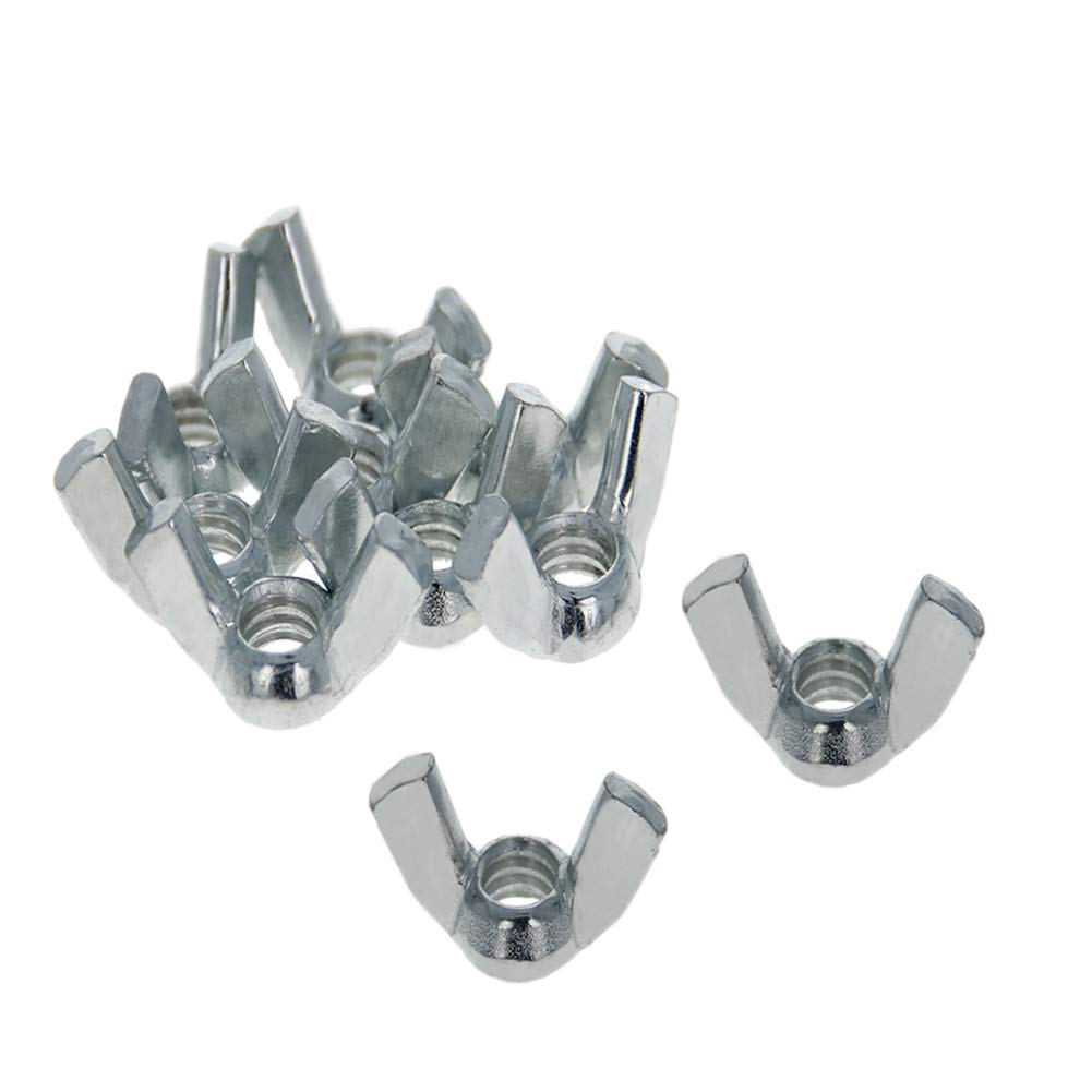 MroMax 1//4-20 Butterfly Nuts Carbon Steel Wing Nuts Zinc Plating 11Pcs Sliver Tone