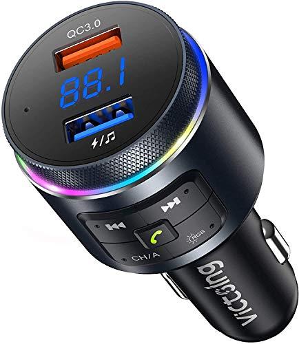 VicTsing Transmisor FM Bluetooth 5.0 para Coche [Detecta Frecuencia Libre de Forma Automática] Dual Micrófono Manos Libres Reproductor MP3 QC3.0 Adaptador,Siri Google Asistente/Luz LED Anillo