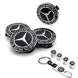 Fukean 9-Piece Set 75mm/2.95'' Mercedes Benz Emblem Badge Wheel Hub Caps Centre...