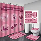 Diseño Día de Decoración Accesorios de baño de 4 piezas de baño cortina de ducha de Rose Valentine impermeables Decoración de baño de tela de poliéster con ganchos ( Color : E , Size : 47.2*70.8inch )