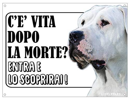 Lovelytiles Dogo Argentino ATTENTI al Cane Esiste LA Vita Dopo LA Morte? Targa Cartello INSEGNA (Metallo)