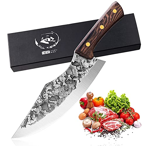 Hand Forged Butcher Knife High Carbon Steel Boning Knives Kitchen Vegetable Meat Cleaver Outdoor Chef Knife Multipurpose Breaking Skinning Fillet Knife for Barbecue, BBQ, Camping
