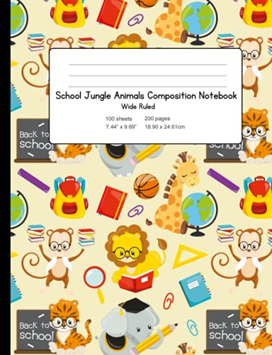 School Jungle Animals Composition Notebook: Wide Ruled