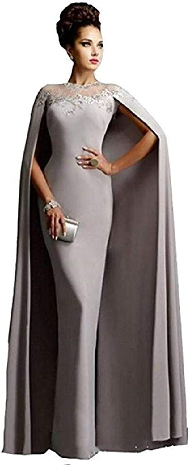 Ai Maria Women's Mother of The Bride Long Formal Party Prom Dress with Cape Illusion Neck Lace Grey