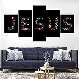 WJWORLD Jésus Saint-Esprit Impression sur Toile Peinture Décor À La Maison Mur Art Affiche 5 Pcs # 5-100 * 55cm-Cadre