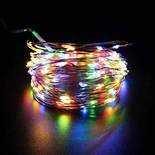Dltmysh Cadena de Luces led Solar 10 Metros 5V USB RGB LED Luces de Cadena de 8 Modos de Prueba de Agua de Navidad Luces de la decoración Interior iluminación de Navidad Garland luz de Hadas