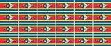 Mini Aufkleber Set - Pack glatt - 33x20mm - Sticker - Swasiland - Flagge - Banner - Standarte fürs Auto, Büro, zu Hause & die Schule - 24 Stück